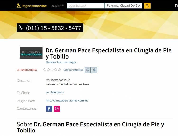 Paginas amarillas: Dr. German Pace - Cirugía percutánea de juanetes