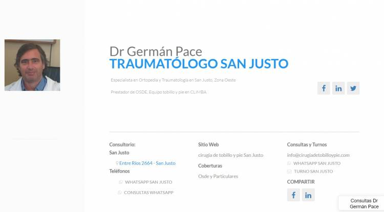 Dr German Pace Traumatologo especialista en pie zona oeste
