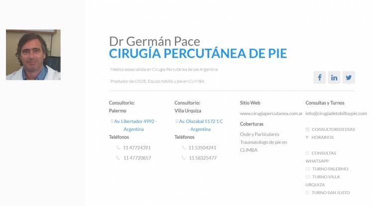 Dr German Pace Cirugia de pie Argentina